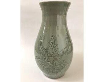 Celedon Mandala Vase