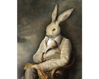 White Rabbit Portrait Print Digital Art Surreal Home Decor Bunny Hare Grey Fur Coat