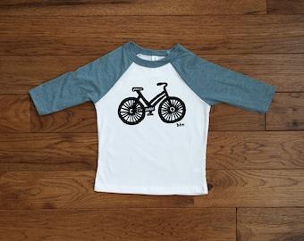 Toddler Tee / Bike Print / Printed by Hand / White and Denim / Black / 3/4 Sleeve Baseball Tee / 2T / 3T / 4T / 5T