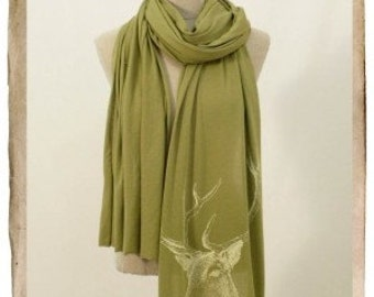Screenprinted Jersey Long Scarf - DEER, OLIVE