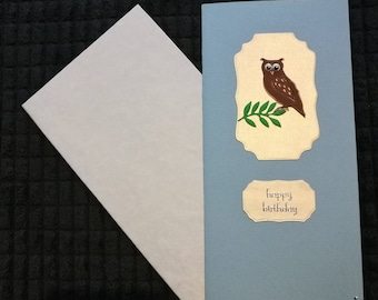 Googly eyed owl birthday card