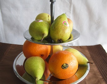 Two tier cake/fruit stand, Kromex USA, 9.5 and 6.5 inches diameter, 12 inches tall, pewter and wood handle