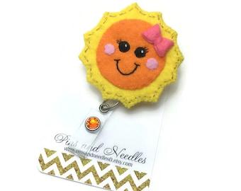 Sun ID Badge Reel - Retractable Badge Reel - Sun Badge Holder - Cute Id Badge Reels - Sunshine ID Badge Reel - Nurse Gifts - Sunshine Badge