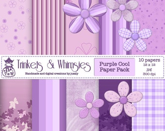 Purple Cool Digital Papers - Instant Download