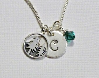 Pine Trees Necklace - Mountain Pine Tree Hand Stamped Sterling Silver Initial Charm Necklace - Personalized Tree Jewelry - Nature Jewelry