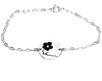 Black Cherry Blossom sterling silver bracelet