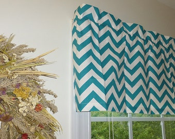 Teal Window Valance - Teal Window Curtains  - Teal Valances - Chevron Teal Window Valance 52 x 16 with Ruffled Top