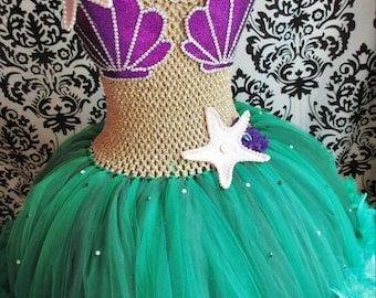 Adult Little Mermaid Dress/Feather Dress/Mermaid tutu dress/Adult Mermaid costume/Adult Halloween Costumes/Womens Clothing/Teen Clothing