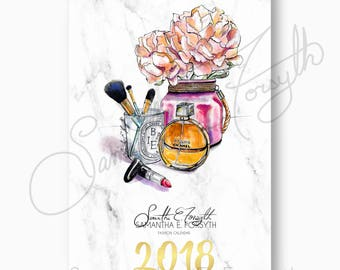 Marble Wall Calendar, Fashion Illustration Calendar, Chanel Calendar, 2018 Wall Calendar, Fashion Calendar, Fashion Wall Calendar