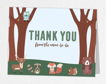 Woodlands Thank You Card, Baby Shower Thank You Card, Baby Thank You Card, Animals Shower, Fox, Birch Tree, Owl, Bear, Raccoon, Deer, Forest