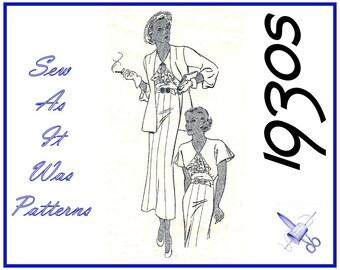 1930s Butterick 5738 New Deltor Jabot Trimmed Bodice Flounce Sleeved Shaped Waist Dresses & Jackets Vintage Sewing Pattern Size 16 Bust 34