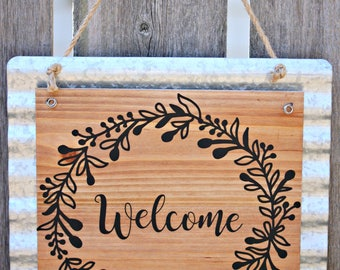 Galvanized metal and wood and vinyl Welcome Sign