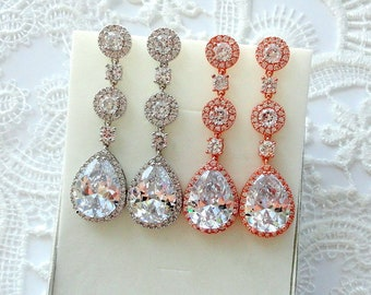 Bridal Earrings Rose Gold Earrings Crystal Wedding Earrings for Bride Long Earrings Silver Teardrop earrings Wedding Jewelry Bridal Jewelry