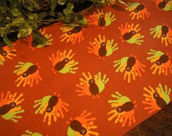 Thanksgiving Table Runner Hand Print Turkeys on Brown Padded