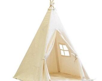 Teepee, Play Tent, Kids Teepee, Children's Teepee, Teepee Tent, Tipi, Playhouse, Baby Gift ,Natural Teepee, Baby Teepee,Indoor Tent,Canvas,