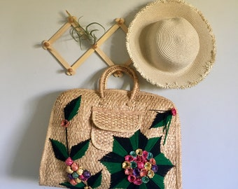 Vintage Large Wicker Tote Bag / Mexican Tourist Embroidered Bag / Bohemian Woven Weekender Bag