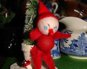 Christmas Elf Spun Cotton Potted Tree