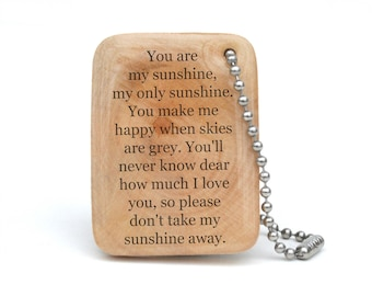 You are my Sunshine keychain, Mothers day from daughter personalized graduation gift, daughter gift, going away gift