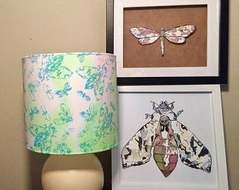 Framed and mounted handmade Moth collage