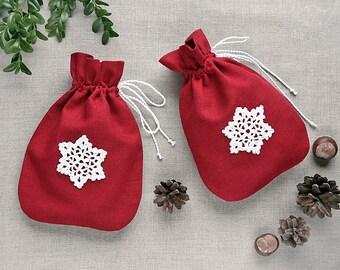 Gift bag with chrochet snowflake   Christmas linen gift basket   sack   wrap   decor   Advent calendar bag   Nuts   drawstring