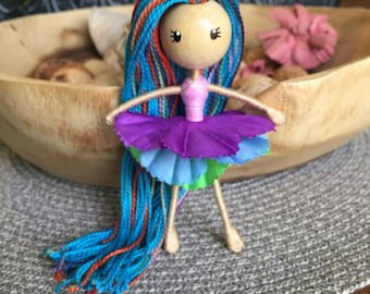 bendy doll, miniature doll, posable doll, flower fairy, flower doll, pipe cleaner doll