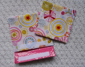Laminated Fabric Snack and Sandwich Bags in Pink Multicolor Set of 2
