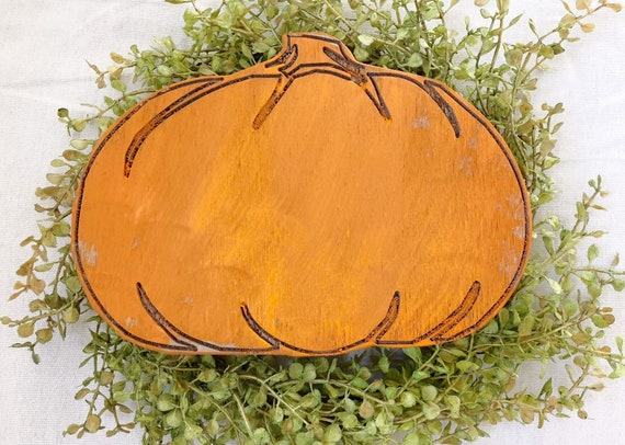 Wood Engraved Fall Pumpkins