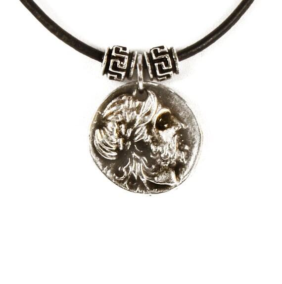 Coin necklace greek coin pendant necklace zeus pendant mozeypictures Gallery