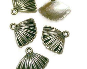Charms X 5 silver metal fan