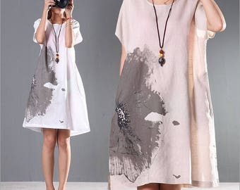 Loose printed linen dress,womens casual summer dress, plus size clothing linen clothing midi dress asymmetrical tunic dress