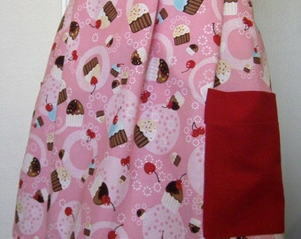 Half Apron - Pink with Cupcakes
