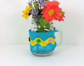 Burlap mason jar yellow and orange flowers with turquoise and yellow ric rac trim 117
