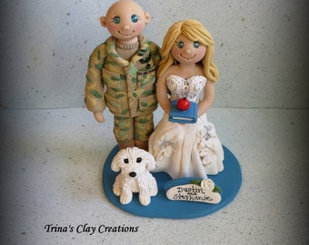 Wedding Cake Topper, Custom Wedding Topper, Bride, Groom, Dog, Military, Air Force, Teacher, Cake Topper, Personalized, Polymer Clay