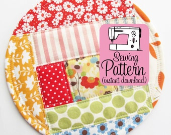 Patchwork Coasters PDF Sewing Pattern | Easy sewing project to make freehand log cabin style patchwork coasters that don't need to be bound.
