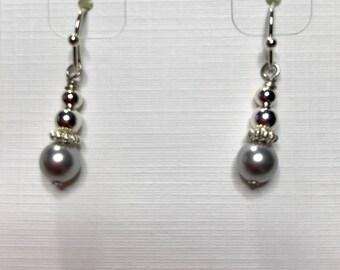 Petite Swarovski Silver pearl earrings
