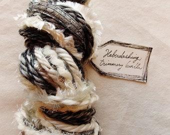 Zebra Eyelashes black white cream charcoal fringe mix ribbon twine Novelty Fiber Yarn Sampler Bundle