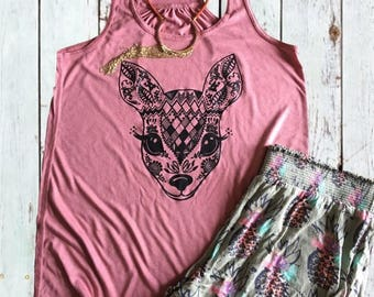 Sweet Mandala Deer Face Flowy Tank Top