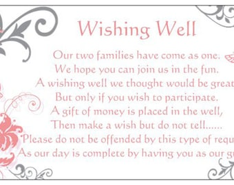 10 WISHING WELL CARDS coral pink and silver butterflies to include with wedding invitations gift cards wedding wishes registry