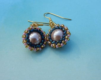 Pearl Bead Work Earrings Pink Black Gold