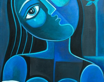 Cubist Abstract  painting Original Acrylic artwork Blue Girl Marlina Vera Fine Art Gallery Modern Figurative Cubism Picasso style peinture