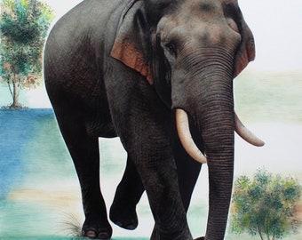 Elephant fine art painting, animal painting, hand painted art