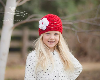 Red Baby Hat, Newborn Flower Beanie, Lace Crochet Hat, Hats for Kids, Baby Shower Gift, Newborn Hospital Hat, Coming Home Outfit, Girl Gift