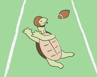 Football Baby Boy Nursery Art -Turtle Kids Wall Art