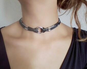 Chokers for women, Fabric choker, Gothic Choker, Gothic Necklace, O Ring choker, Simple Choker, gray choker, neck choker, necklace for women