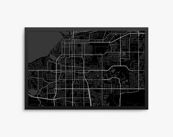 Anchorage City Street Map, Anchorage Alaska USA, Anchorage AK, Office Decor,  Home