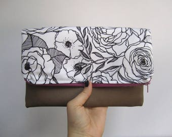 Foldover Clutch | Floral Envelope Clutch | Greenery Handbag | Faux Leather Clutch | Gifts for Her | Black and white Clutch | Hand sewn