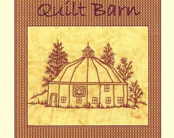 Quilt Barns Square in Diamond - Redwork Hand Embroidery Pattern - by Beth Ritter - Instant Digital Download