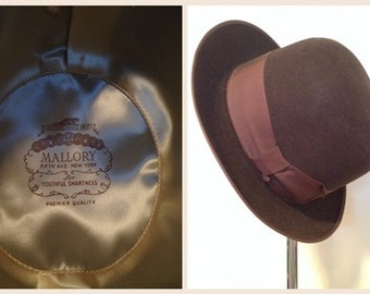 """HUGE SALE----Vintage - EXCELLENT Brown Mallory """"'The Mallory Ten"""" - Bowler Hat"""