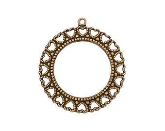 Round Frame Pendant with Hearts - Antiqued Brass Ox Frame of Hearts - Antique Vintage Style USA Made Nickel-Free
