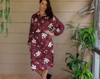Vintage Floral Dress / l Midi Tent Shift Dress / 1970's OSFM
